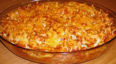 Macaroni à la viande gratiné