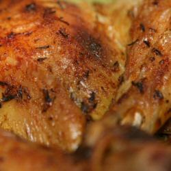 Poulet rôti farci aux pommes de terre