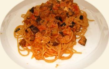 Spaghettis à l'aubergine