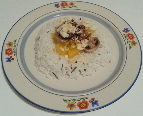 riz au navet champignon et amande